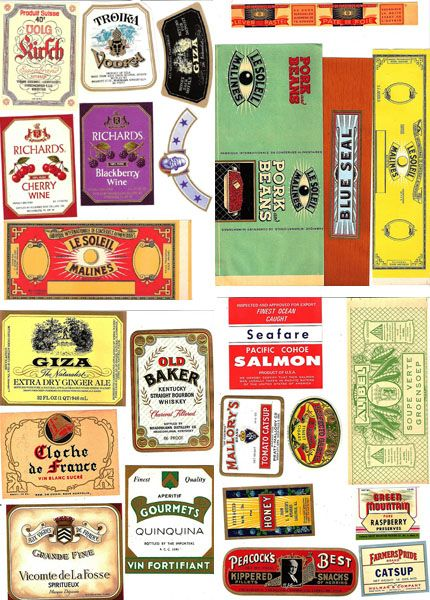 Vintage labels...to print and stick onto antique bottles.