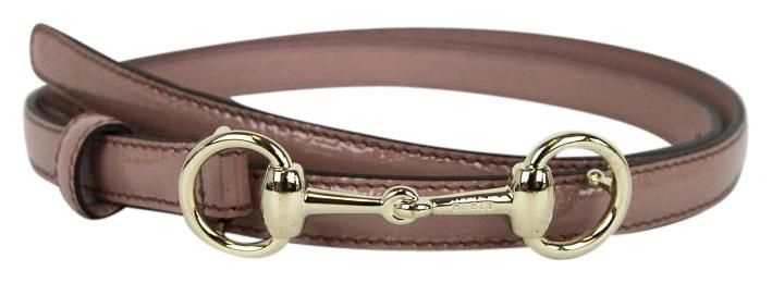 Womens Leather Thin Skinny Belt w/Horsebit Buckle. Free shipping and guaranteed authenticity on Womens Leather Thin Skinny Belt w/Horsebit BucklePale pink patent leather with gold tone hardware ...