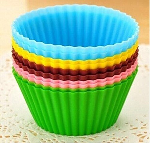 Drhob 12pcs/lot Mixed Colors Round Silicone Muffin Cases Cake Cupcake Liner Baking Molds Cake Moulds Gift (Color: Multicolor Random) -- See this awesome image @ : Baking Accessories