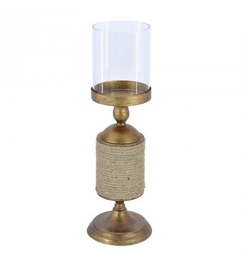 METAL_GLASS CANDLE HOLDER BRASS COLOR W_JUTE ROPE 14X14X44