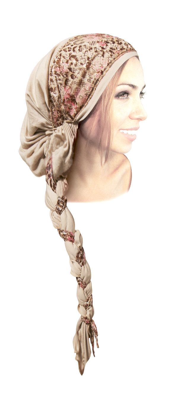 Beige Cream Cotton Head Scarf Tichel Boho Chic от ShariRoseShop