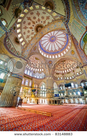 Blue Mosque (Turkish: Sultan Ahmet Cami) interior Ottoman architecture in Istanbul, Turkey