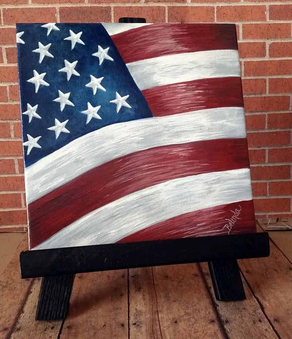Hand-painted | American Flag | Ceramic Tiles | 8″ x 8″ | Home and Garden Decor