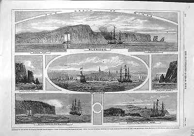 Antique Print of 1860 Ships, Minas Basin, Blomidon