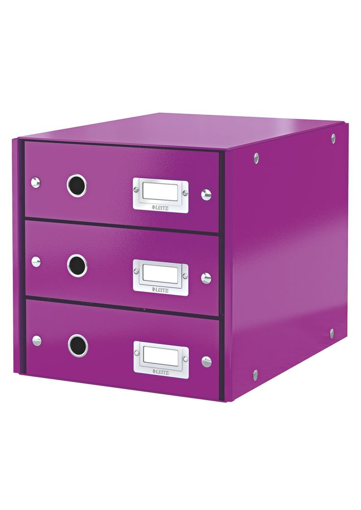 Hide your clutter and show off your beautiful storage solutions! Get quickly well organized with Click & Store!  Comes in orange, purple, ice blue, metallic blue, pink and green.  #leitz #stationary #purple #office #storage