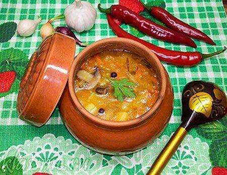 Суп из чечевицы с грибами в горшочке в духовке | Классные вегетарианские рецепты
