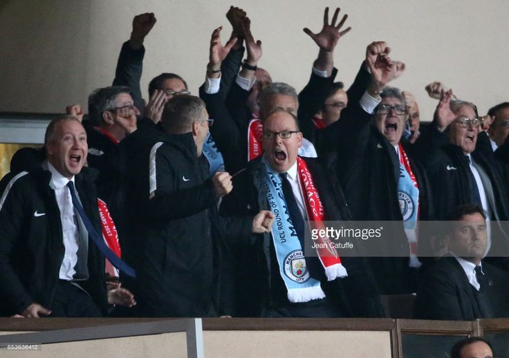 Prince Albert II of Monaco celebrates the third goal of Monaco with Vice President of AS Monaco Vadim Vasilyev and President of AS Monaco Dmitri Rybolovlev (left) during the UEFA Champions League Round of 16 second leg match between AS Monaco (ASM) and Manchester City FC at Stade Louis II on March 15, 2017 in Monaco, Monaco. (Photo by Jean Catuffe/Getty Images)
