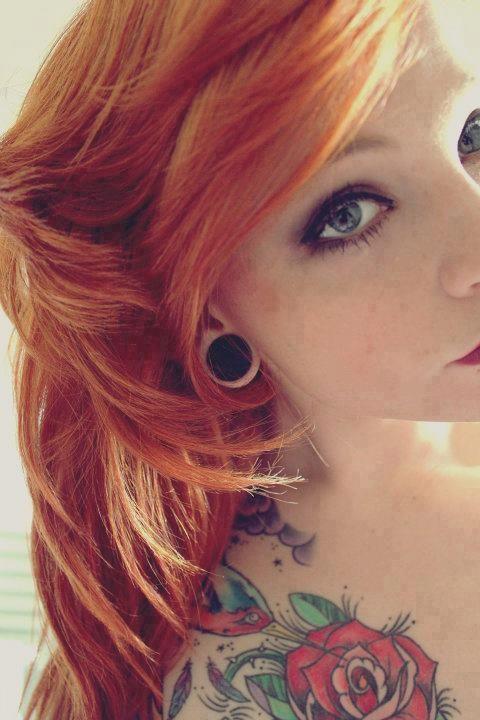 Redhead + Gauges + Tattoos