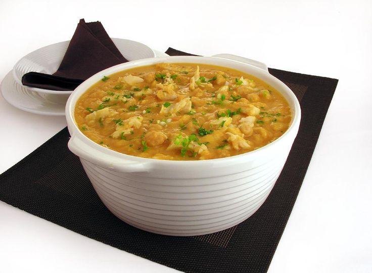 Sopa de grão-de-bico e bacalhau