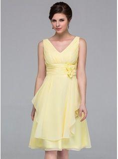 Bridesmaid Dresses - $112.99 - A-Line/Princess V-neck Knee-Length Chiffon Bridesmaid Dress With Flower(s) Cascading Ruffles  http://www.dressfirst.com/A-Line-Princess-V-Neck-Knee-Length-Chiffon-Bridesmaid-Dress-With-Flower-S-Cascading-Ruffles-007037211-g37211