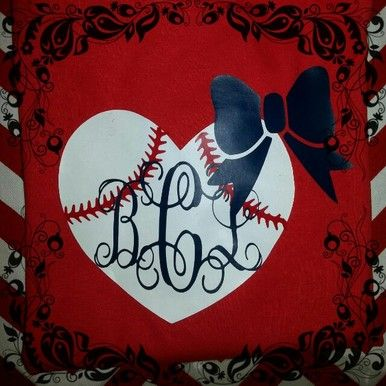 A baseball Heart Monogrammed Tee with a bow!  Choose your shirt color and your monogram color (it will be the same as the bow).