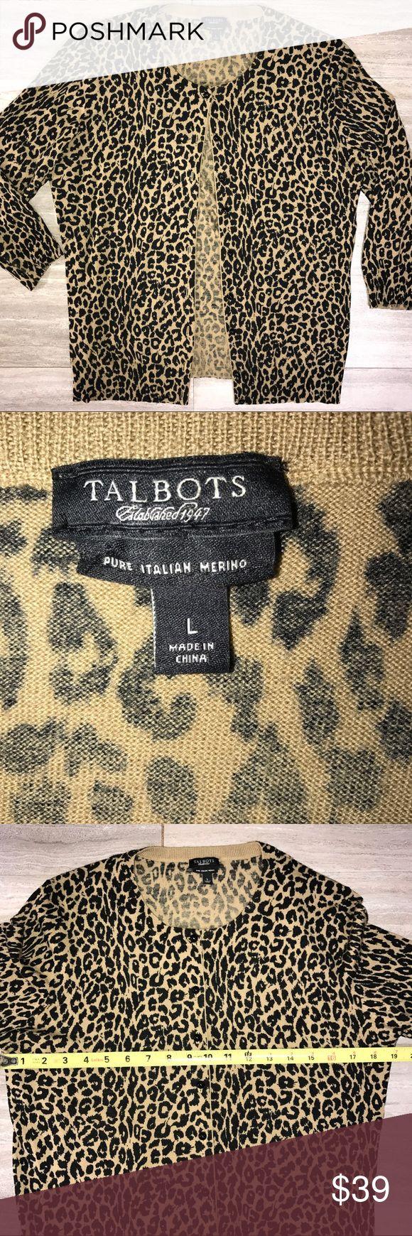 Talbots Merino Wool Cheetah Cardigan Black Tan Talbots lightweight 100% Italian merino wool buttondown cardigan sweater. Tan with black cheetah print. Great condition. Talbots Sweaters Crew & Scoop Necks