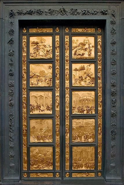 """The Baptistery of St. John boasts the famous bronze doors by Ghiberti that Michelangelo dubbed """"The Gates of Paradise""""...Florence, Italy"""