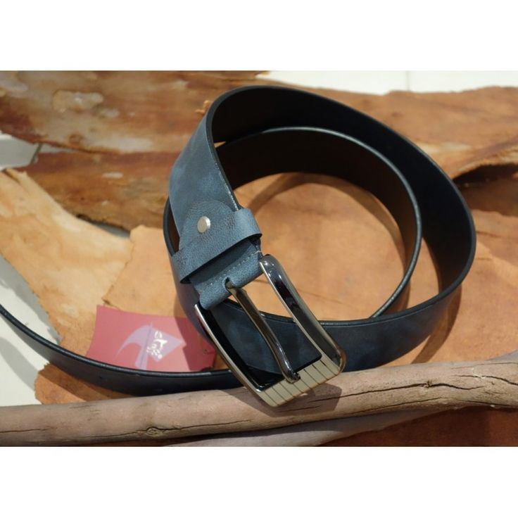 Men's Smokey Grey Blue Faded Belt with choice of three buckles