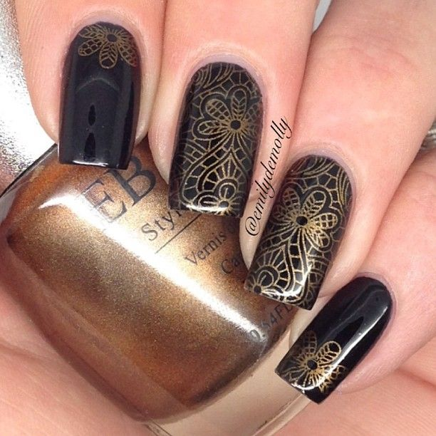1308 best stamping nailart 1 images on pinterest html makeup black and gold stamping nail art prinsesfo Gallery