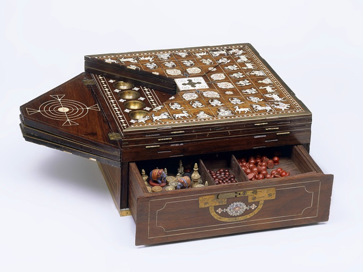 Games box, Mysore, India,  1825-1850 (made), Artist/Maker:   Unknown (production)  Materials and Techniques:   Rosewood, inlaid with ivory, with brass mounts