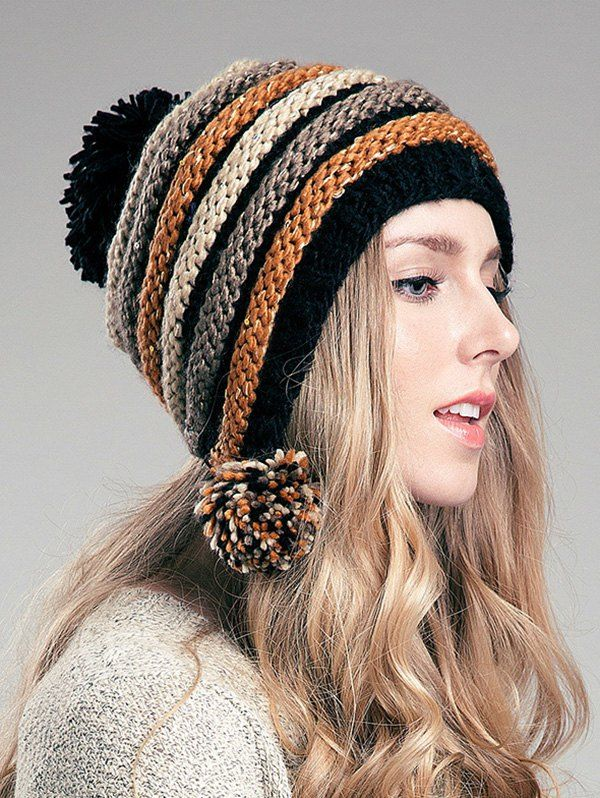 Cute Ball Embellished Stripe Knitted Hat For Women