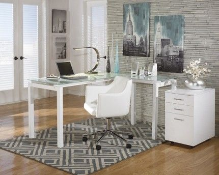 Millennium Desk SKU: MI1410190. A sleek modern design.  Featuring a welded metal frame and frosted glass top. The Upper Room Home Furnishings, Ottawa's Premier Home Furniture Store.