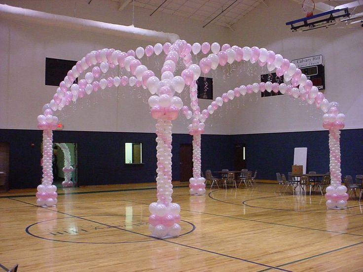 dance floor balloon decor: #balloon #balloons #arch #column #party #dancefloor #decoration #white #pink