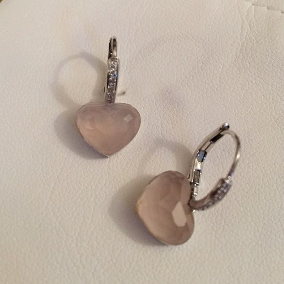 real diamond earrings with pink stone heart nancy dell. Black Bedroom Furniture Sets. Home Design Ideas