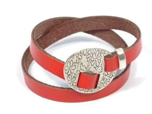 flower engraved leather bracelet  women adjustable by CozyDetailz