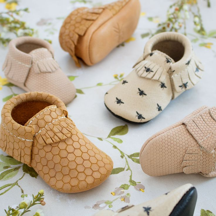 Honeybee, Honeycomb, and Newborn Honeycomb | Freshly Picked Baby Moccasins, Genuine Leather, Neutral Kid Shoes, Patterned Kid Fashion, Tan, Brown, Cream, Gold
