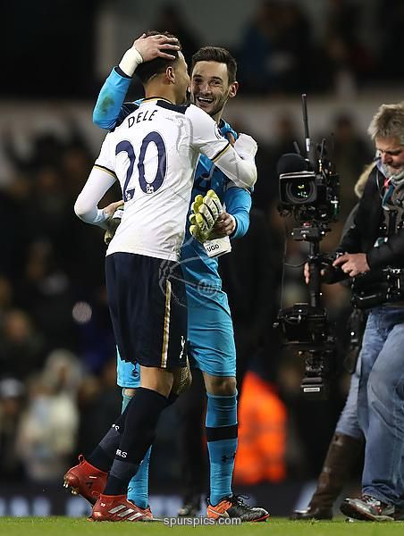 LONDON, ENGLAND - JANUARY 04: Dele Alli of Tottenham Hotspur (L) and Hugo Lloris of Tottenham Hotspur (R) celebrate together after the Premier League match between Tottenham Hotspur and Chelsea at White Hart Lane on January 4, 2017 in London, England