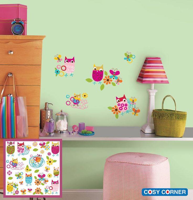 Πολύχρωμα και γοητευτικά αυτοκόλλητα τοίχου με κουκουβάγιες, πεταλούδες και λουλούδια της συλλογής Zutano. http://goo.gl/5OEaxL