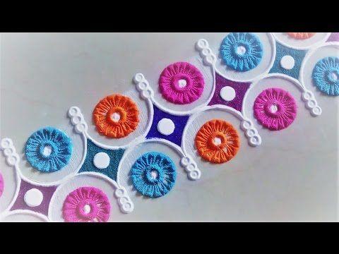 Easy and Creative Border Rangoli Designs Using Bangles - YouTube