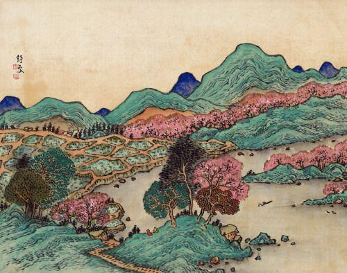 """Landscape( hanging scroll detail) - Fukuda Kodojin  Japanese, 1865-1944  Ink and color on silk."""