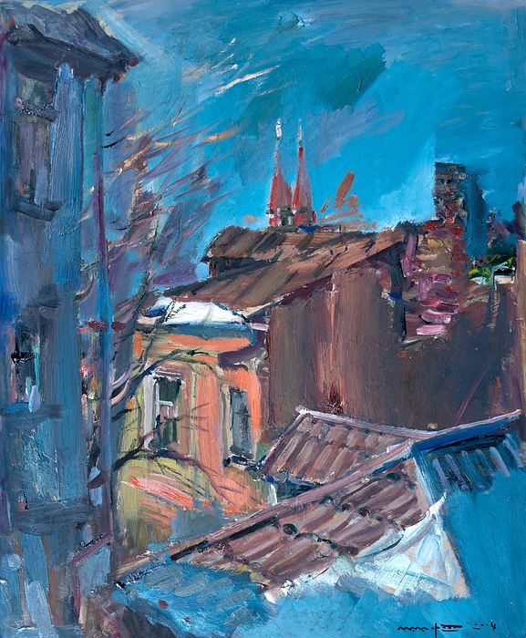 #NikolayMalafeev #canvasprint #print #buypainting #buyart #winter #cityscapes #officedecor #homedecor #weather #trees #street #sky #road #morning #evening #building #branch  None