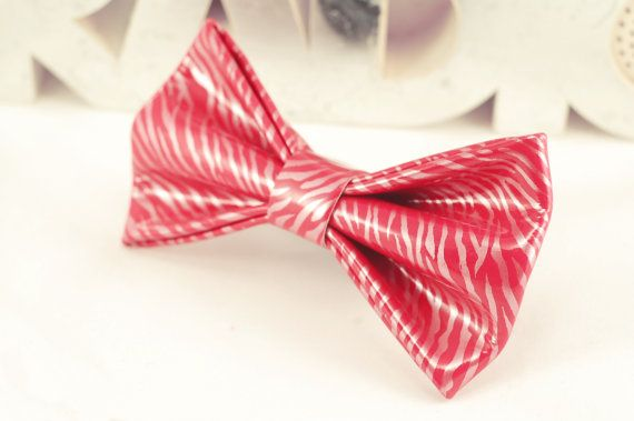 Leather Striped Pink Bow Tie by LimeG on Etsy