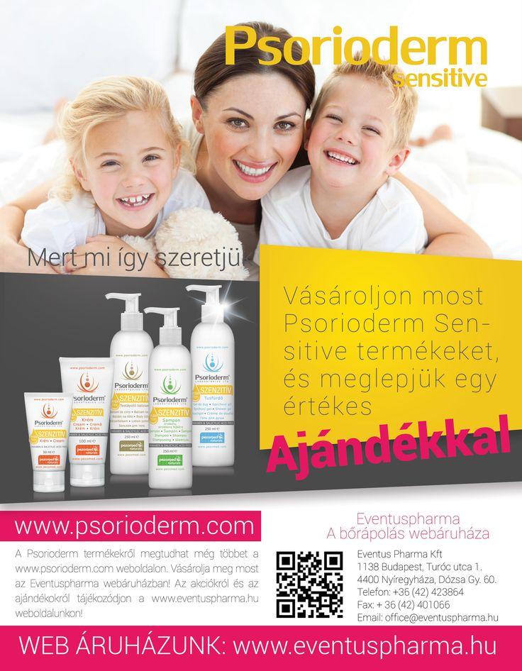Vásároljon most Psorioderm Sensitive termékeket, és meglepjük egy értékes ajándékkal! Részletekért látogasson el a www.eventuspharma weboldalra!