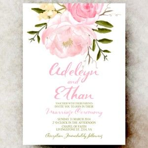 Pink Floral Wedding Invitation - Cottage chic wedding invitation, Printable wedding invitation, wedding invitation set