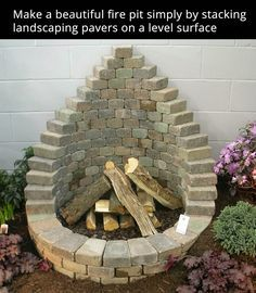 Fireplace made out of landscape pavers.