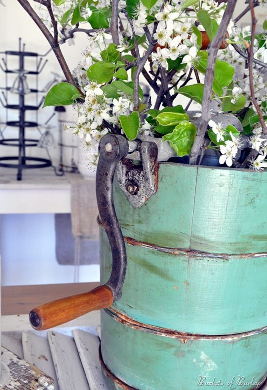Vintage ice cream maker used as a planter!  Via Buckets of Burlap blog