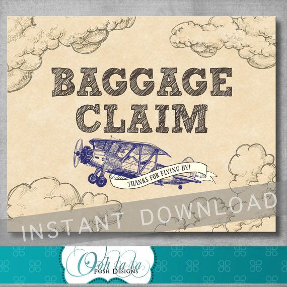 Baggage Claim Sign Vintage Airplane by OohlalaPoshDesigns on Etsy