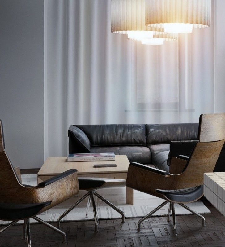 Apartment, Black Beige Sectional Sofa Stainless Steel Chairs Wooden Coffee Table Dark Brown Wooden Laminate Floor White Curtain Chandelier Carpet And Modern Lving Room ~ Eclectic Golden and White Decoration Filling Modern Apartment Interior