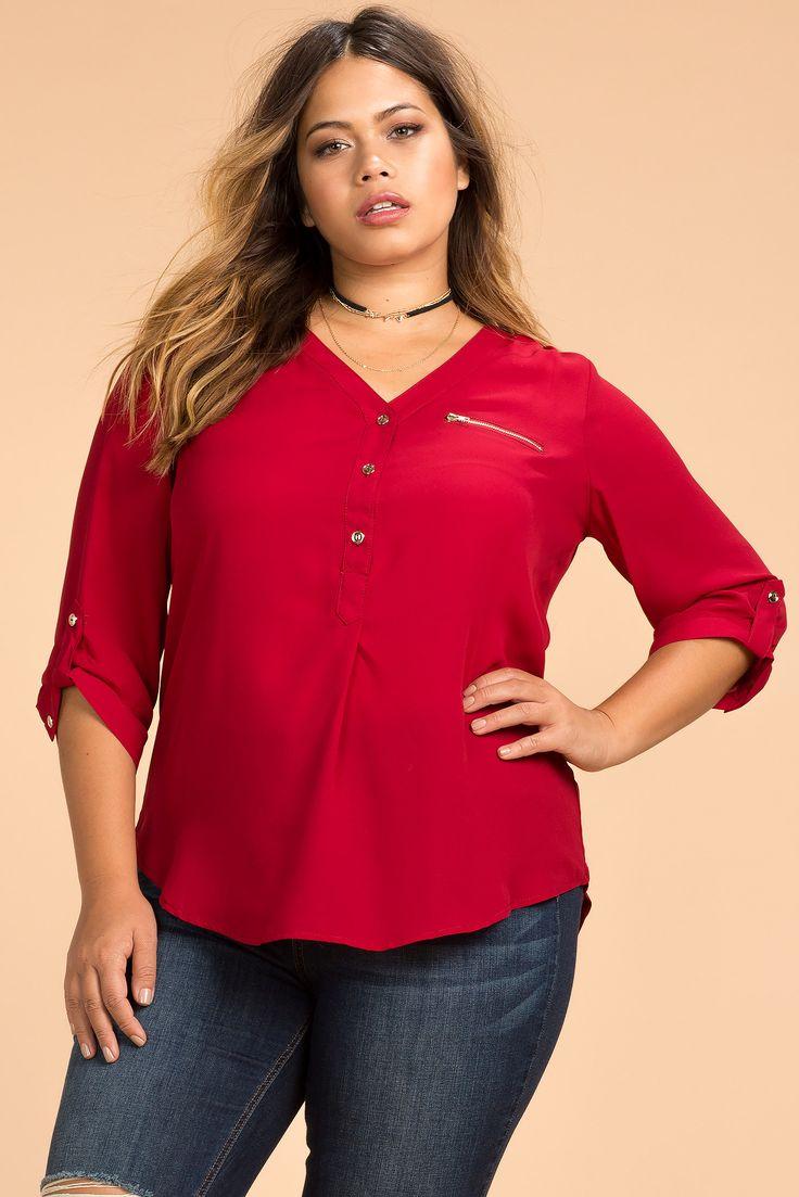 Women's Plus Size Shirts | Zip This Town Henley Shirting Top | A'GACI