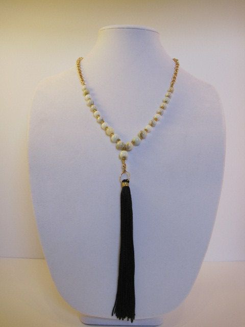 Black tassel long gold chain and white by AllTheseBeadsJewelry