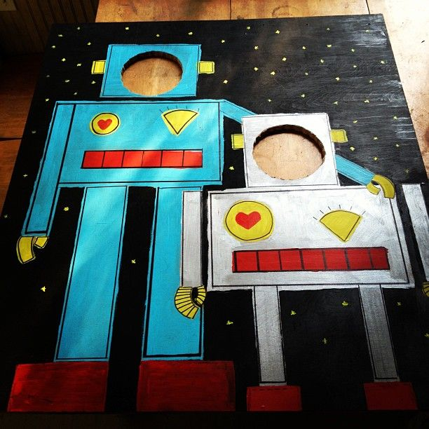 Robot Birthday Party Face in the hole https://www.facebook.com/PartyFishEvents