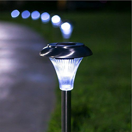 solar powered path lights set of 10 outdoor garden and lawn led lights 6 lumens of brightness easy to install no wires energy saving and long lasting