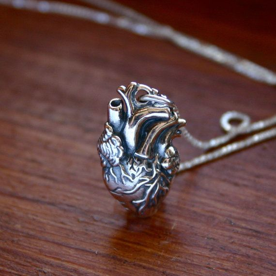 Sterling silver anatomical heart necklace   sterling by JustJaynes, £32.00