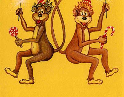 "Check out new work on my @Behance portfolio: ""Новогодняя открытка. Танцующие обезьянки."" http://be.net/gallery/41051495/novogodnjaja-otkrytka-tancujuschie-obezjanki"
