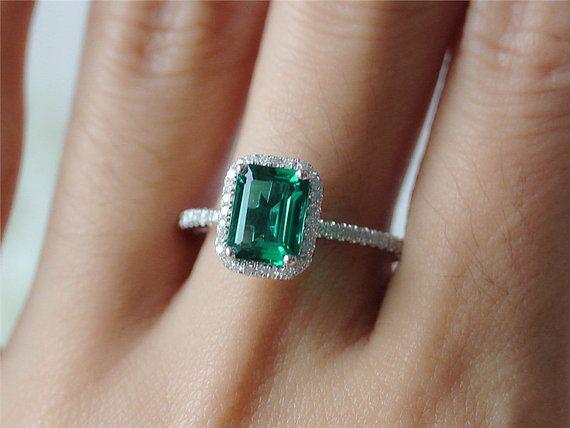 14K White Gold Emerald  Ring Diamond Halo by InOurStar