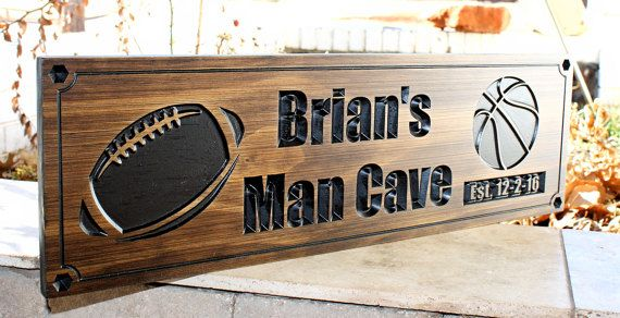 Man Cave Football Signs : Football sign basketball sports man cave plaque