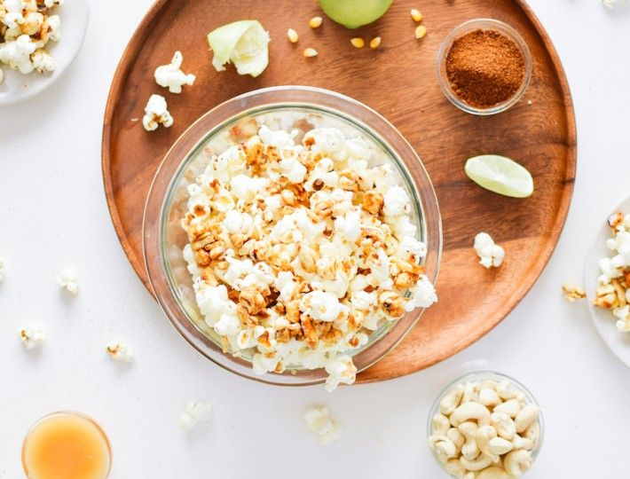 chili lime popcorn with sweet & spicy cashew clusters