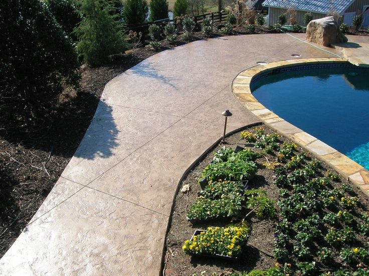 Stamped Concrete Pool Deck Flagstone Coping And Saw Cuts In The Stamped Concrete Were Used To