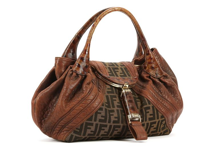 FENDI SPY BAG, monogram canvas and soft distressed tan leather, tortoiseshell effect rolled leather handles, linen interior, 43cm wide, 24cm high