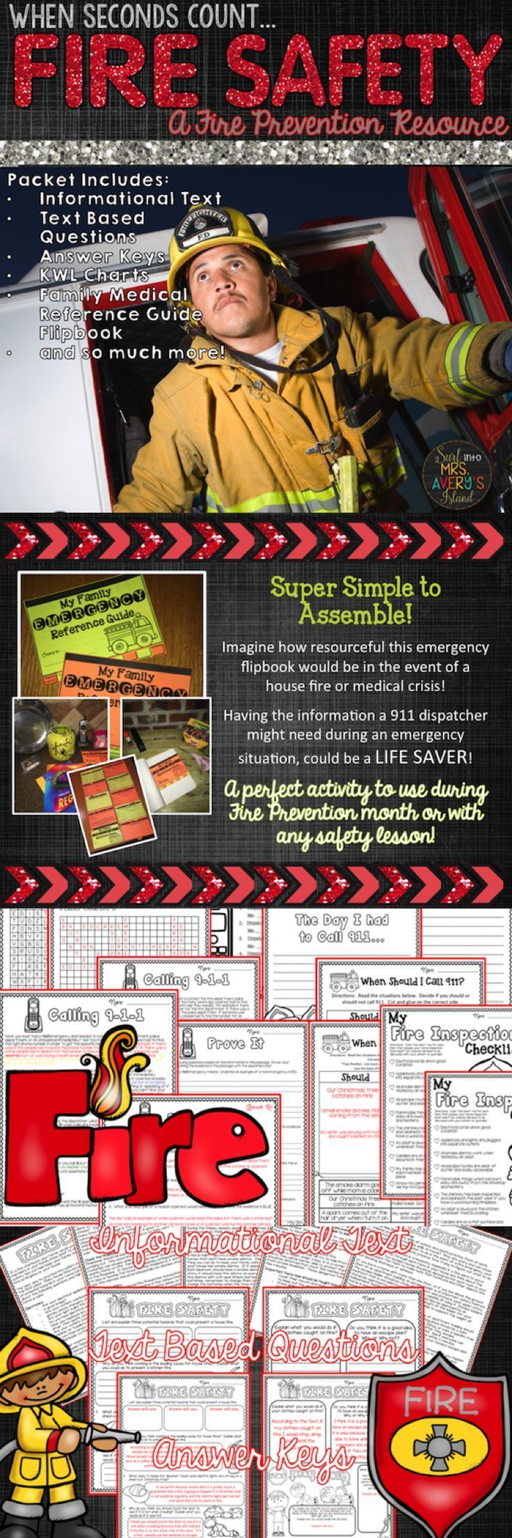 Fire Prevention is a life skill every student in every grade should always keep in mind in the event of a fire emergency.  If you are teaching students the importance of fire safety, click here to discover the ease of incorporating these fire safety activities into your reading and social studies lessons!  These no prep printables are perfect for Interactive Notebooks, Fire Prevention month, literacy groups, whole group lessons, literacy centers, early finisher activities, and so much more!